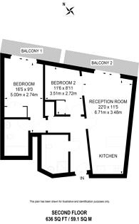 Large floorplan for Balmoral Apartments, Paddington, W2