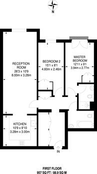 Large floorplan for Holme Court, Twickenham Road, Isleworth, TW7