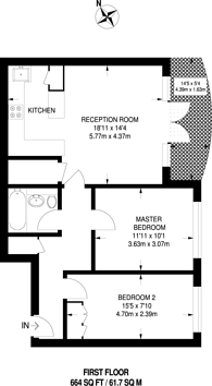 Large floorplan for Master Gunner Place, Woolwich, SE18