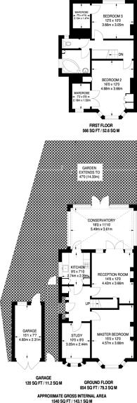 Large floorplan for Gander Green Lane, Sutton, SM3