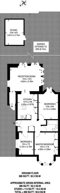 Large floorplan for Lawn Road, Belsize Park, NW3