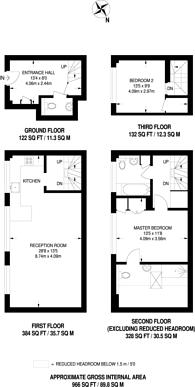 Large floorplan for Union Mews, Clapham North, SW4
