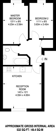 Large floorplan for Glamis Place, Limehouse, E1W