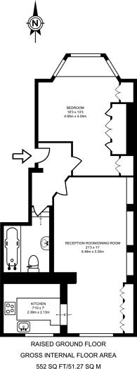 Large floorplan for Avenue Road, Acton, W3