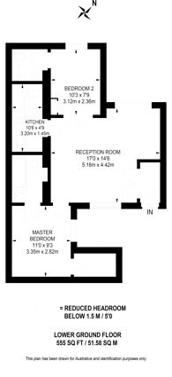 Large floorplan for Ashburn Gardens, South Kensington, SW7