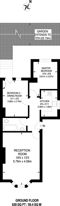 Large floorplan for Downs Road, Hackney Downs, E5