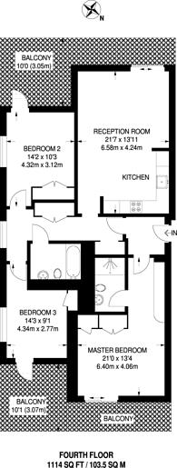 Large floorplan for Eastfields Avenue, Putney, SW18