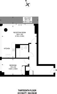 Large floorplan for Landmark East Tower, Canary Wharf, E14