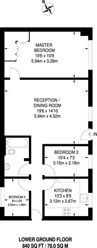 Large floorplan for St Mary Abbots Court, Kensington, W14