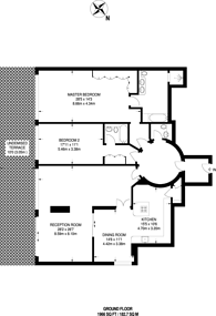 Large floorplan for Grosvenor Road, Pimlico, SW1V
