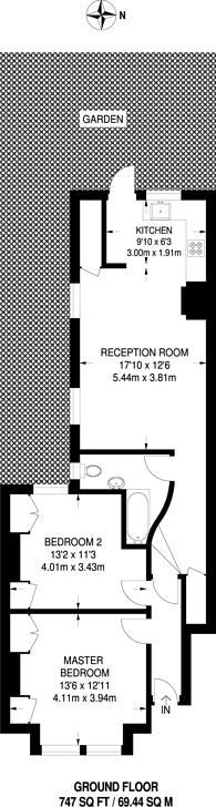 Large floorplan for Wandsworth Bridge Road, Fulham, SW6