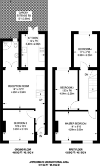 Large floorplan for Fountain Road, Tooting, SW17