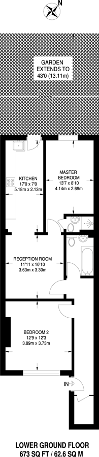 Large floorplan for Harwood Road, Fulham, SW6
