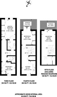 Large floorplan for Sutherland Ave, Maida Vale, W9