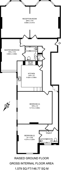 Large floorplan for Abingdon Villas, Kensington, W8
