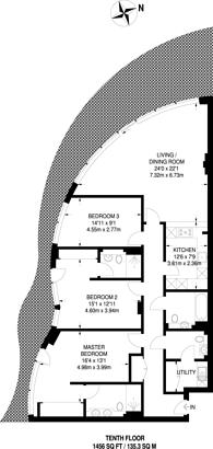 Large floorplan for Pinnacle House, Battersea Reach, Battersea, SW18