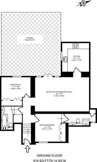 Large floorplan for West Hill, Harrow on the Hill, HA2