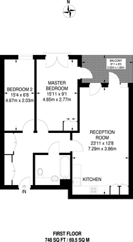 Large floorplan for Cowley Road, Oval, SW9