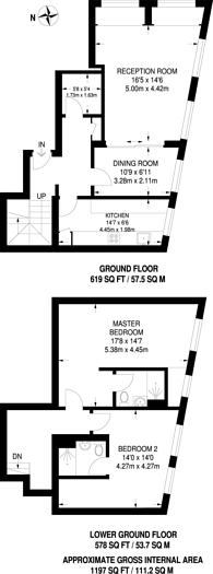 Large floorplan for Argyle Square, Bloomsbury, WC1H