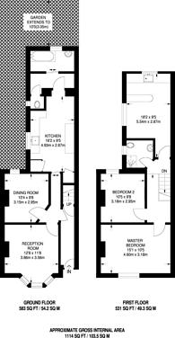 Large floorplan for Gastein Road, Barons Court, W6