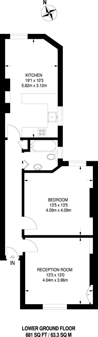 Large floorplan for Widley Road, Maida Vale, W9