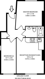 Large floorplan for Chichester Road, Kilburn, NW6