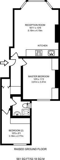 Large floorplan for Marylands Road, Maida Vale, W9