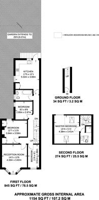 Large floorplan for Haverhill Road, Hyde Farm Estate, SW12