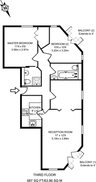 Large floorplan for Murray Grove, Old Street, N1