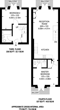 Large floorplan for Vermeer Court, Isle Of Dogs, E14