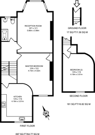 Large floorplan for Portland Avenue, Stamford Hill, N16