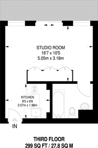 Large floorplan for Wiloughby House, Barbican, EC2Y