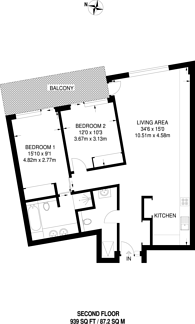Large floorplan for Rathbone Square, Fitzrovia, W1T