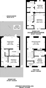 Large floorplan for Amberden Avenue, Finchley, N3