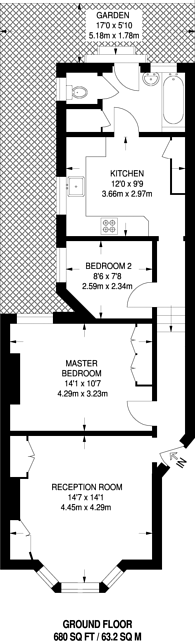 Large floorplan for St Anns Hill, Wandsworth, SW18
