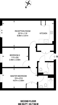Large floorplan for St Georges Grove, Earlsfield, SW17