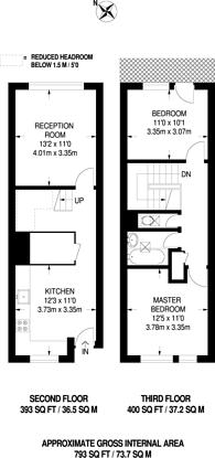 Large floorplan for Turenne Close, Clapham Junction, SW18