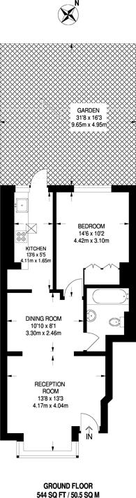 Large floorplan for Hailsham Road, Tooting, SW17