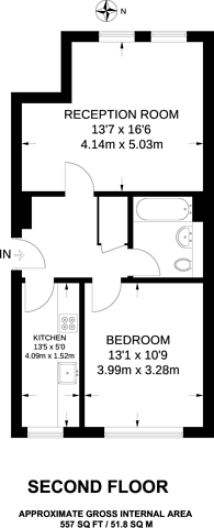 Large floorplan for Well Street, Victoria Park, E9