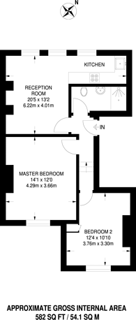 Large floorplan for Kingdon Road, West Hampstead, NW6