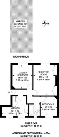 Large floorplan for Clayponds Avenue, Ealing, TW8