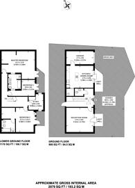 Large floorplan for Sunnyside Cottage, Putney, SW15