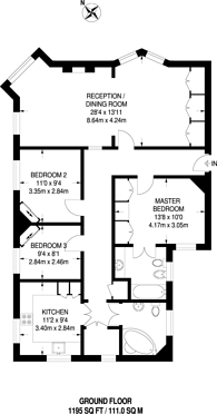 Large floorplan for Phoenix Lodge Mansions, Brook Green, W6