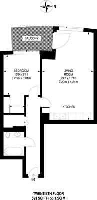 Large floorplan for Charrington Tower, Canary Wharf, E14