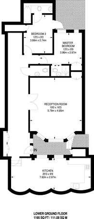 Large floorplan for St Georges Square, Pimlico, SW1V