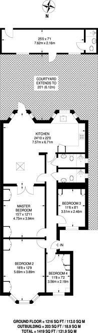 Large floorplan for The Vale, Wendell Park, W3