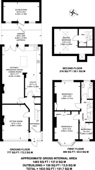 Large floorplan for Ardfern Avenue, Norbury, SW16