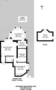 Large floorplan for Tooting Bec Gardens, Streatham, SW16
