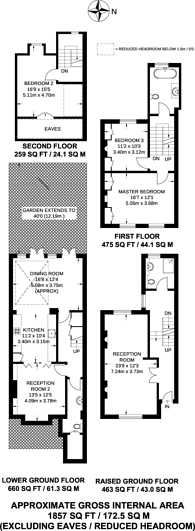 Large floorplan for Richmond Way, Shepherd's Bush, W12