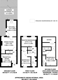 Large floorplan for Denison Road, Colliers Wood, SW19